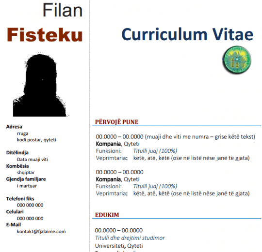 Curriculum Vitae Format Ne Shqip